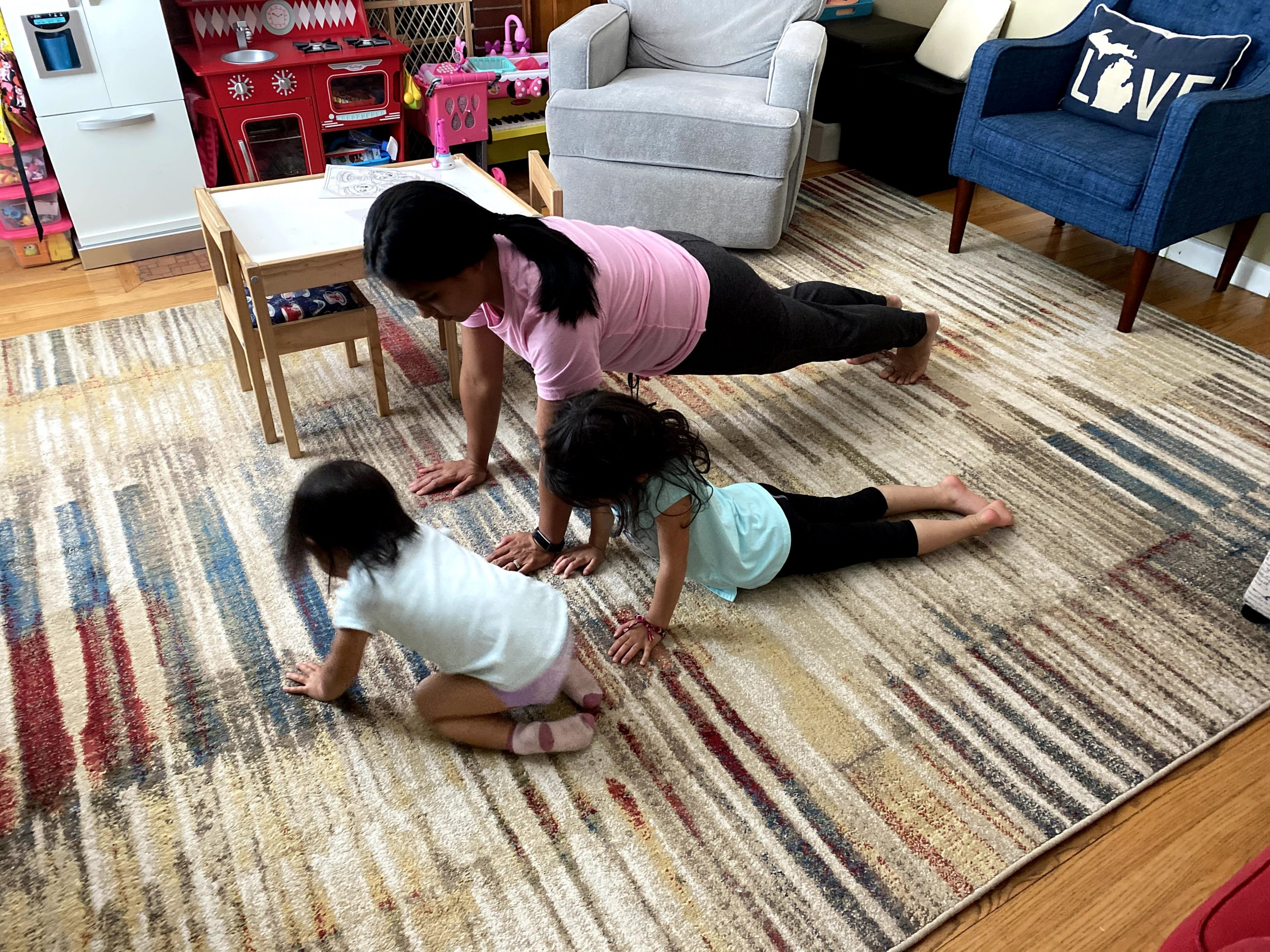 Mom and kids working out